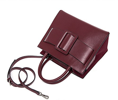 Donne Genuine Leather Retro Di Grande Capacità Borsa A Tracolla Piazza Buckle Borsa. WineRed
