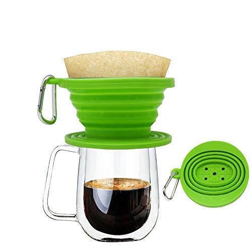 Wolecok Faltbarer Kaffeefilter aus Silikon, lebensmittelecht, perfekt für Draußen und für Unterwegs mit gratis Haken, plastik, dunkelgrün, Einheitsgröße