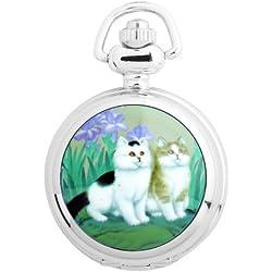 UNIQUEBELLA Pocket watch-Quartz-Men/ Women/ Children-Vintage-Alloy Chain/Necklace-B5-S3007 Silver-Cats