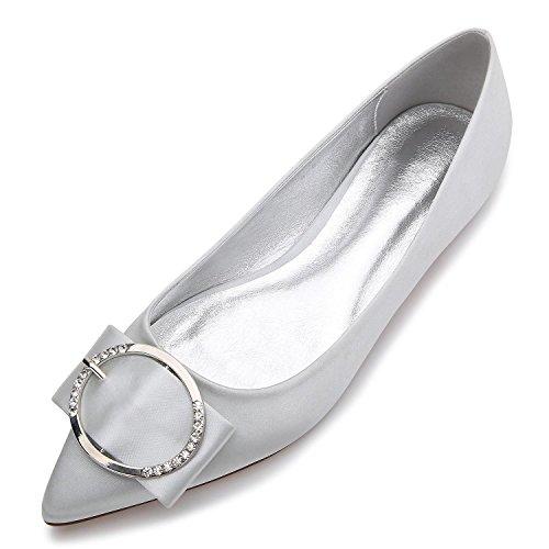 YC dimensioni di Toe da Punta misura su L Metal da Calzature Pump Basic E Elastic sposa 5047 grandi 27 Silver Scarpe Closed Satin Flat donna d1AqHw4