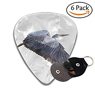 Great Blue Herons Ardea Herodias In Flight Isolated On White Stylish Celluloid Guitar Picks Plectrums For Guitar Bass .6 Pack 46mm