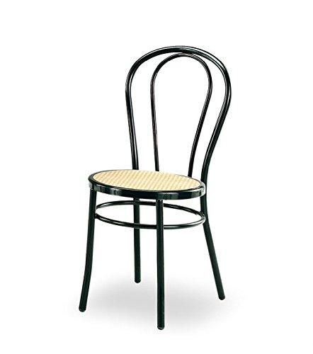 4 sedie bistrot tipo thonet in metallo verniciata nera sedile in plastica tipo paglia di vienna - telaio in acciaio tubo di diametro 25 mm - pronta consegna