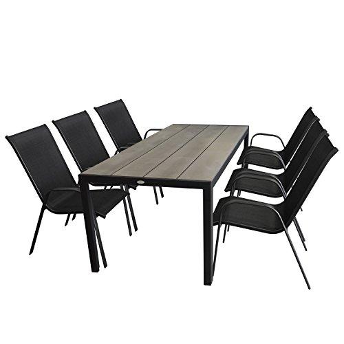 Multistore 2002 7tlg. Gartengarnitur Gartentisch, Aluminium, Tischplatte Polywood, Grau, 205x90cm + 6X Stapelstuhl, Textilenbespannung, Schwarz - Gartenmöbel Set Sitzgarnitur Sitzgruppe