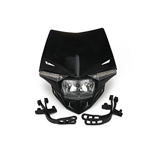 Jfgracing S212V 35W universale moto faro testa lampada a LED per KTM Yamaha Kawasaki Honda Dirt Pit Bike–nero