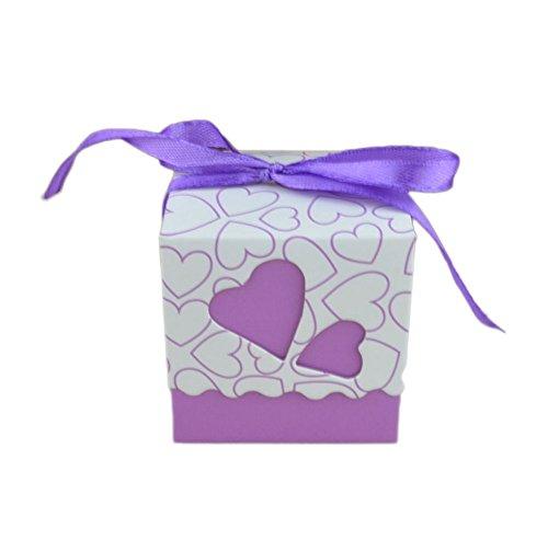 y Chocolate Box Candy Pearl Papier Geschenke Box Halter Aufbewahrungsbox Fall für Hochzeit Ehe Geburtstag Dusche Party Dekore 5 x 5 x 5CM violett (Baby Dusche Süßigkeiten Halter)
