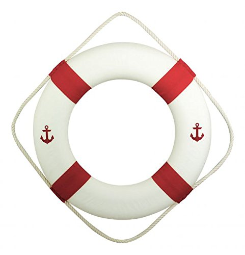 Rettungsring weiß rot mit Anker 50 cm zur Dekoration