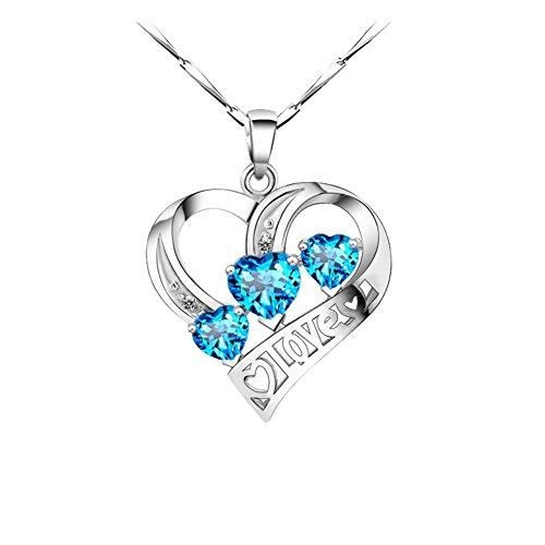 aiuin Halskette Anhänger Fashion Frauen eleganter Silber in Herzform Drei Diamant Halskette (Kette Länge ()