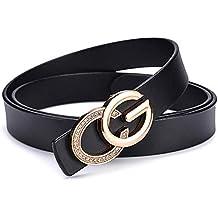 ab729be53 SJMM-YD Señoras Cuero Liso Hebilla de Cinturon de Ocio Personalidad GG  Hebilla de Cinturon