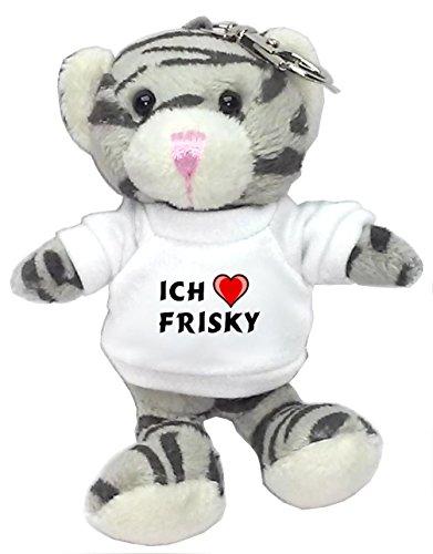 plusch-graue-katze-schlusselhalter-mit-t-shirt-mit-aufschrift-ich-liebe-frisky-vorname-zuname-spitzn