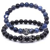 Bracelet élégant en perle sodalite naturelle W&S style Tiger | Mixte (MYSTIC BLUE)