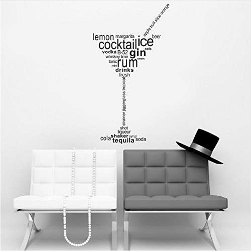 ZYL123 Cocktail Ice Gin Rum Getränke Abnehmbare Art Vinyl Wandhaupt Room Decor Wandaufkleber Für Wohnzimmer (Gin Fett)