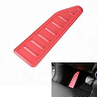 Odster Left Side Drive Car Fu?ablage Pedal-Panel-Abdeckungs-Ordnung Aluminiumlegierung Red & Silver Farbe Fit f¨¹r Jeep Renegade 2015 2016 [Rot]