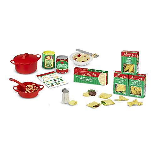 Melissa & Doug Prepare & Serve Pasta (Pretend Play, Felt Kitchen Set, Easy to Use, 50+ Piece Set, 25.4 cm H x 22.86 cm W x 7.62 cm L)