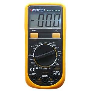 VICTOR 201 3 1/2 Multimètre numérique Auto Gamme voltmètre ampèremètre ohmmètre Testeur Mesureur électrique de grand écran LCD