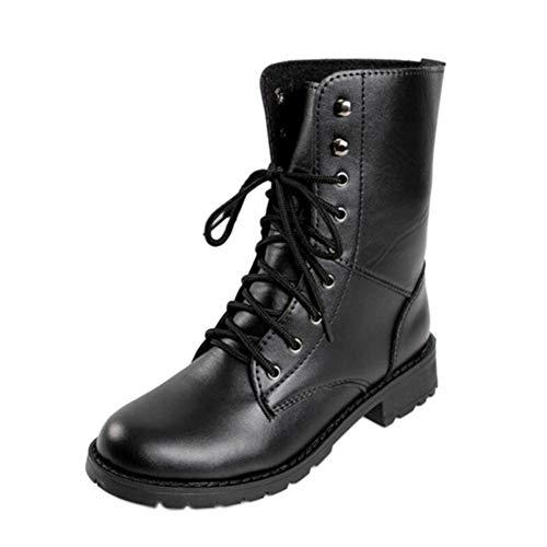 Uirend Zapatos Botas Mujer - Martin Boots Cordones Estilo Militar Combate Botines
