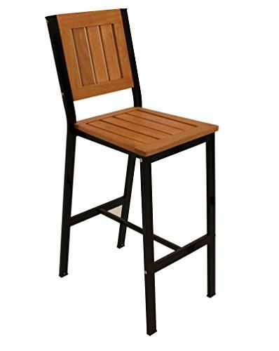 Barstuhl DARWIN, Metallgestell schwarz, Belattung Eukalyptusholz, Sitzhöhe 80cm