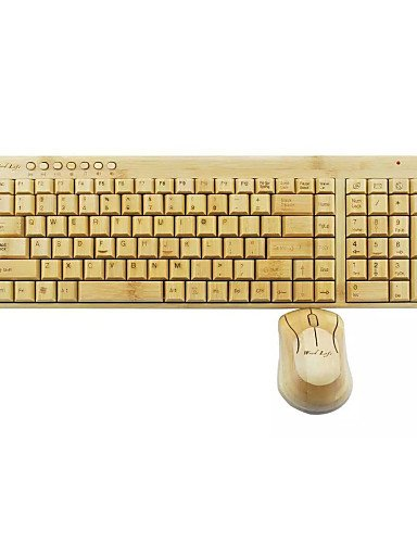 Houdelong™ Holz Bambus Leben Batterie drahtlose Tastatur und Maus für Computer