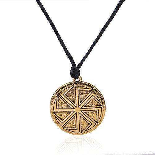 Amuleto eslavo Wicca Sigil talismán antiguo Kolovrat símbolo colgante Sol Rueda collares joyas