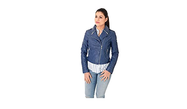 Giacca in ecopelle donna Gaudì blu pavone  Amazon.de  Bekleidung 661fd6b47be