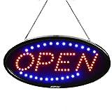 Cartello a LED aperto, 48,3 x 25,4 cm, illuminazione lampeggiante a LED elettrico, con due modalità lampeggiante e luce costante, per affari, pareti, finestre, negozi, bar, hotel (spina UK)