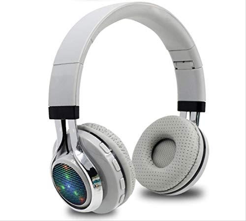 qazcg Glowing Stereo Casque Audio Bluetooth Headphone Wireless Big Headset Sport Earphone Mic Light Tf Fm for Pc Phone Grey Earbuds Intercom Mic