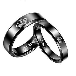 Aienid Partnerringe Edelstahl Für Sie Und Ihn 6MM Paar Ringe Her King and His Queen Engagement Ring Für Männer