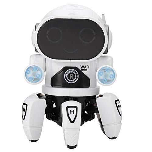 Juguete de robot de Baile electrico, LED inteligente Seis pies de aprendizaje educativo Robot regalo para niños pequeños(Blanco)
