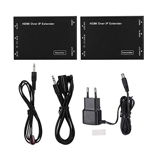 100M HDMI-Netzwerk-Extender über IP-Kits, kompatibel mit HDCP 1.4-Standard, einschließlich HDMI-über-IP-Encoder und -Decoder, Breitband-Infrarot-Sender- und -Empfangskabel, 2 * Netzteil(EU Plug) Ip-encoder
