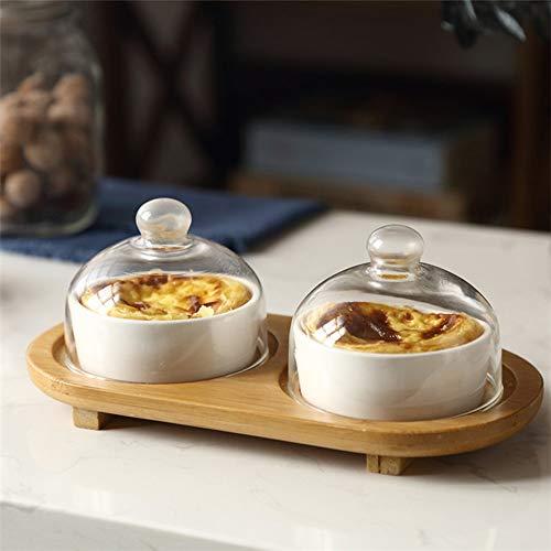 HUAVIN Cuenco de postre de cerámica con tapa de vidrio Bandeja de madera Tazón de pastelería Bol de yogur Cuenco del horno Copa de pudín Pastel Ensalada hotel restaurante casa
