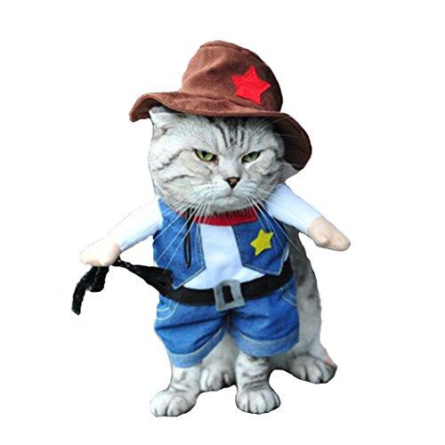 Hotumn Cowboy Hund mit Hut Kostüm Hund Kleidung Halloween Kostüme für Katzen und Kleine Hunde, - Katze Cowboy Kostüm