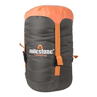 Milestone Camping Unisex's 26750 Envelope Sleeping Bag 3 Season Double Insulation Grey & Orange, Grey 2