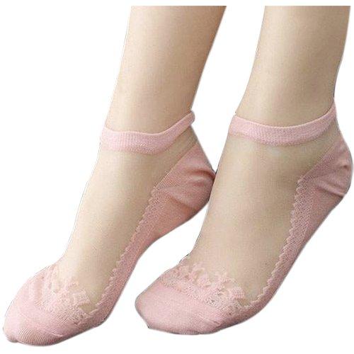 Socken - SODIAL(R) Mode Damen Keine Anzeigen Netz Spitze Flickwerk Knoechel unsichtbar Tief geschnitten Freizeitschuh Boots Socken rosa (6 Knöchel Paar Socken Geschnitten)