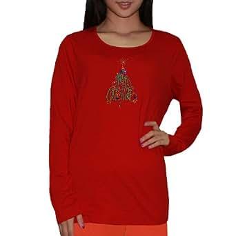 Womens Christmas Tree Long Sleeve Sleepwear / Pajama Top (Festive Winter / Christmas) - Red (Size: XL)