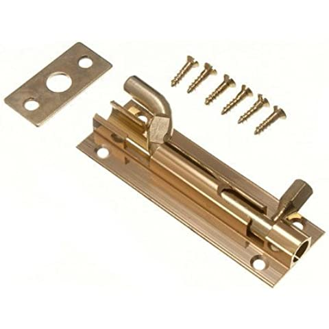 DOOR BARREL SLIDE BOLT CRANKED OFFSET 75MM 3 INCH BRASS + SCREWS by onestopdiy.com