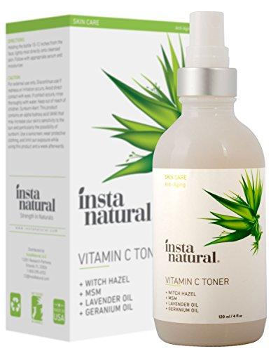InstaNatural vitamine C de tonique pour le visage - 100% d' anti- vieillissement naturels et biologiques Pore Minimizer pour le visage - avec hamamélis , Aloe Vera & MSM - Nourrit et hydrate la peau - Idéal pour tous les types de peau - 4oz