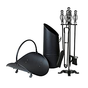 "Simpa® Homely Hearths Contemporary Collection 3PC Black Fireplace Accessories Set featuring: Log Cradle Basket, Large 20"" Coal Hod & 4PC Premier Cast Iron Black/Nickel 66cm Companion Set."
