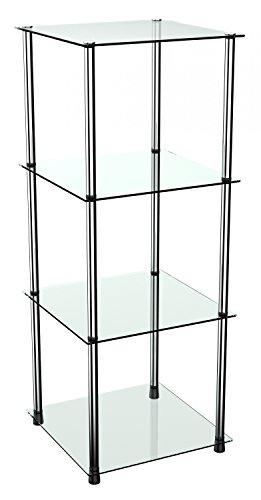 RICOO Standregal Modular WM503-C Design Modern Bücherregal Organizer/Regal Vitrine Rahmen Schwarz Glas Transparent Durchsichtig