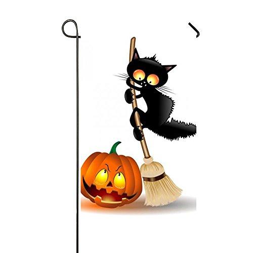 Rossne G sun Herbst Gelb Blätter sitzender Hund und Kürbisse Garten Flagge Haus Flagge Dekoration Doppelseitig Flagge 31,8x 45,7cm Halloween Black Cats Pumpkin