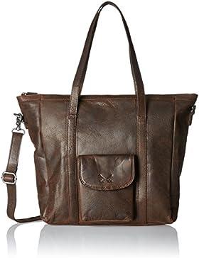 Sansibar Damen Shopper Bag Henkeltasche, Braun (Dark Brown), 10x34x35 cm