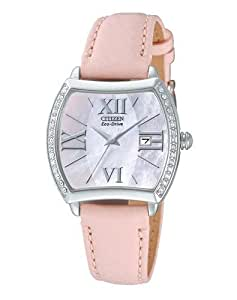 Citizen -EW1150-16C - Montre Femme - Ecodrive - Quartz analogique - Dateur - Bracelet Cuir rose