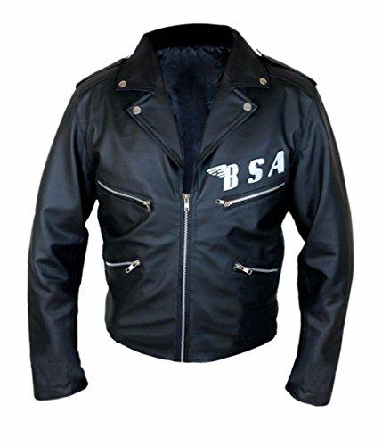 Feather Skin Veste Homme BSA George Michael Faith Rockers Revenge Style motard Moto Authentique Veste de Cuir Noir