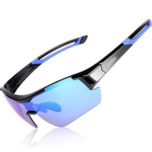 JAORUNNING Erwachsene Outdoor Polarisator Reitbrille Männer und Frauen Myopie Sonnenbrillen Mountainbike Winddichte Brille,Blackblue
