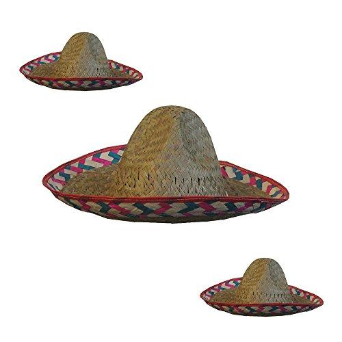 3 Stück Kinder Sombrero Strohhut Mexikaner Mexiko - 35cm (Kinder Sombrero Hut)