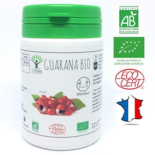 Guarana bio en gélules | Complément alimentaire | Minceur Brûle de graisse Ventre Coupe faim | Bioptimal nutrition naturelle | Fabriqué en France | Certifié par Ecocert | Satisfait ou Remboursé 30j