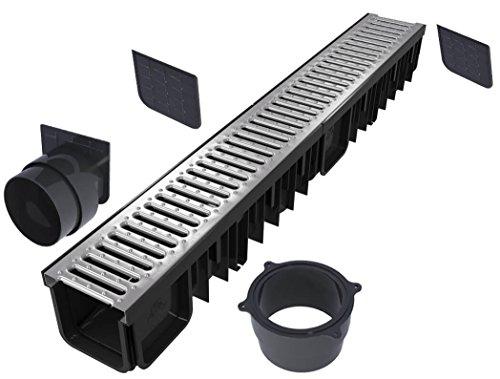\'S\'lon Entwässerungsrinne Set 4 Meter | Verzinkt Klasse B125 | Typ 90 (Entwässerungsrinnen)