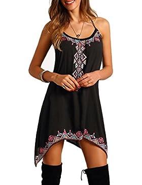 OHQ_Vestido para Mujer Vestido Estampado Sin Mangas Vestido Corto Boho Party Verano Beach Mono Bohemio Camisas...