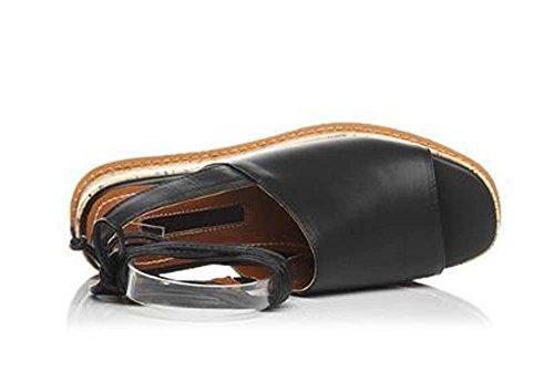 Beauqueen Peep-toe Tie pompa della piattaforma sandali delle ragazze pattini casuali delle donne cinturini alla caviglia Bianco Nero Europa formato 34-39 Black