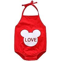 WLG Tipo de Chaleco de bebé Bellyband Unido Verano Sección Delgada de Algodón 0-12 Meses Modelos de bebé,Rojo,12M