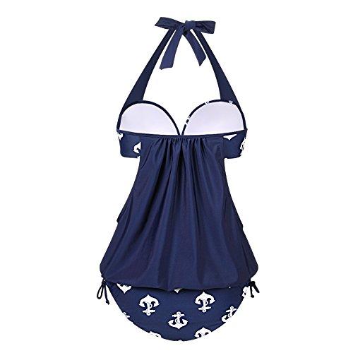 FeelinGirl Damen Tankini Bikini Set Streifen Badeanzug Swimsuit Kobaltblau