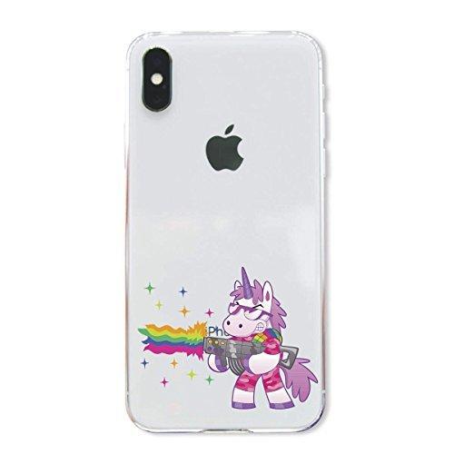 finoo | Iphone X Hard Case Handy-Hülle mit Motiv | dünne stoßfeste Schutz-Cover Tasche in Premium Qualität | Premium Case für Dein Smartphone| Einhorn Überall Einhorn schiesst